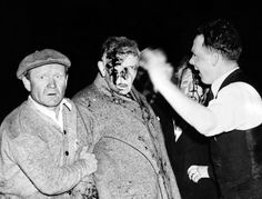 Injured in the Hindenburg Crash. Survivors are dazed and bloodied by the explosion, fire and crash, a man and women passenger are given first aid before going to the hospital. There were among the 23 passengers who survived the wreck. 13 passengers were killed. May 6, 1937. (CSU_ALPHA_1451) CSU Archives/Everett Collection