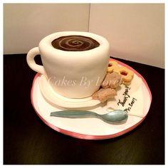 Cup of Coffee & Cookies Cake -Thank You Teacher. #cake #customcake #fondant #fondantcake #coffeecup #coffeecupcake #thankyoucake