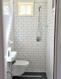 Tiny bathroom, wall hung toilet and sink, subway tile, black hex floor tile, stri Small Narrow Bathroom, Small Toilet Room, Small Bathroom With Shower, Tiny Bathrooms, Modern Bathroom, Showers For Small Bathrooms, White Bathrooms, Luxury Bathrooms, Master Bathrooms