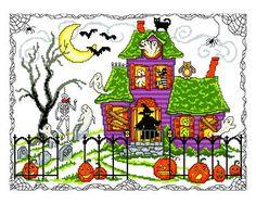 Halloween House cross stitch pattern.