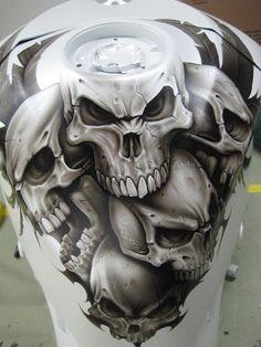 very cool custom skull tank airbrush