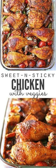 SWEET AND STICKY CHICKEN WITH VEGETABLES | Heaven Food Recipe