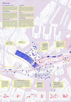 VIA A66 - Space Popular's urban vision for the redevelopment of Highway A66 in Oviedo, Spain.Presentation Board 02. Design Team: Lara Lesmes, Fredrik Hellberg, Jariyaporn Prachasartta, Kanyaphorn Kaewprasert, Kornkamon Kaewprasert. www.spacepopular.com