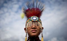 A boy from the Musqueam First Nation in Vancouver waits to participate in the Squamish Nation Youth Pow Wow in North Vancouver, British Columbia Picture: AP Photo/The Canadian Press, Darryl Dyck