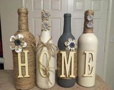 Home wine bottles #decoratedwinebottles #DIYHomeDecorWineBottles