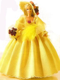 If I were Miss Barbie I would get married in this beautiful yellow dress, forget the white too traditional for a gypsy girl like me.  This beauty has a nice diagram