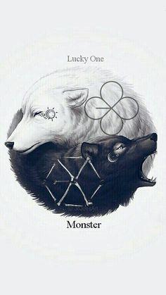 62 ideas for wall paper kpop exo fanart Wolf Wallpaper, Animal Wallpaper, Ying Yang Wallpaper, Exo Monster, Monster Board, Wolf Artwork, Wolf Spirit Animal, Exo Fan Art, Mythical Creatures Art