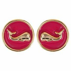 """Set of gold-plated stud earrings with a whale design and pink detail.  Product: Pair of earringsConstruction Material: Enamel, zinc, tin and surgical steelColor: Pink and goldFeatures: Whale designSurgical steel postsDimensions: 0.75"""" Diameter eachCleaning and Care: Keep away from any forms of moisture, lotions, or chemicals.  Keep in plastic baggies to avoid tangling and tarnishing."""