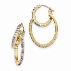 14K Yellow Gold Diamond Fascination Oval Hinged Double Hoop Earrings –…