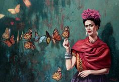 15 Famosas E Inspiradoras Frases De Frida Kahlo Que Te Motivarán A Sentirte Empoderada Frida E Diego, Frida Art, Frida Kahlo Artwork, Diego Rivera, Art And Illustration, Pop Art, Butterfly Painting, Butterfly Bedroom, Butterfly Canvas