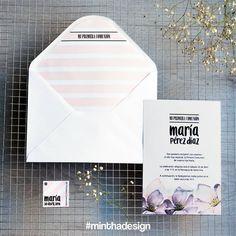 """Invitación para comunión """"violet"""". Para más información escríbenos a minthaestudio@gmail.com"""