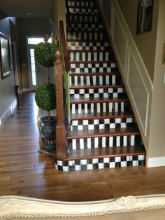 Almost Makes Me Wish I Had A Staircase ... #MacKenzie Childs staircase... #Checkerboard