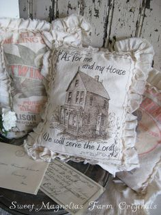Farmhouse Sawdust Pillow  As for Me and My от SweetMagnoliasFarm, $18.00