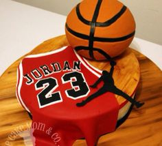 "Jason would love this Air Jordan Cake. This cake is all edible. The basketball is Rice Krispies treats. All other decorations are fondant. The wooden ""court"" is hand painted fondant. Michael Jordan Cake, Michael Jordan Birthday, Beautiful Cakes, Amazing Cakes, Basketball Birthday Parties, Sport Cakes, Cupcake Cakes, Cupcakes, Cake Gallery"