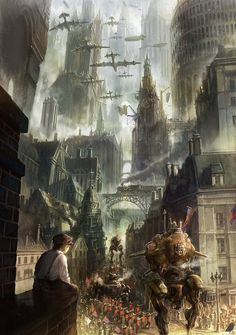 Safari Steampunk Anyone? Steampunk is a rapidly growing subculture of science fiction and fashion. Ville Steampunk, Steampunk Kunst, Steampunk City, Steampunk Artwork, Steampunk Design, Steampunk Drawing, Steampunk Goggles, Fantasy Magic, Fantasy City