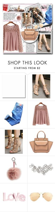 """""""SheIn Sweet Lady"""" by lillili25 ❤ liked on Polyvore featuring Levi's, Fendi, Crate and Barrel, H&M, Ray-Ban, women's clothing, women, female, woman and misses"""