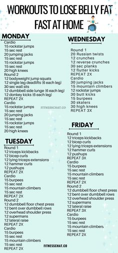 workouts to lose belly fat fast at home