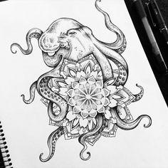 Tattoo trends - octopus mandala tattoo commission on behance 42 Tattoo, Tigh Tattoo, Piercing Tattoo, Tattoo Drawings, Body Art Tattoos, New Tattoos, Cool Tattoos, Piercings, Ankle Tattoos