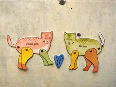 illustrazione coppia gatti innamorati - stampa  di vumap su DaWanda.com