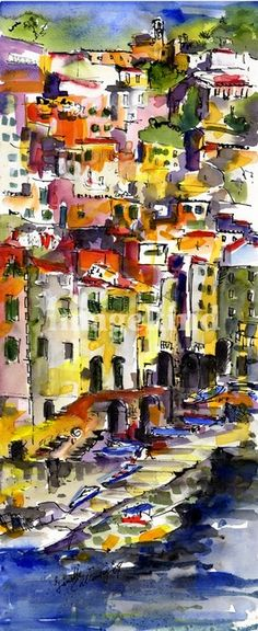 """Riomaggiore Italy Cinque Terre Watercolor by Ginet"" by Ginette Callaway, Georgia // Colorful watercolor and ink painting by Ginette Callaway // Imagekind.com -- Buy stunning, museum-quality fine art prints, framed prints, and canvas prints directly from independent working artists and photographers."