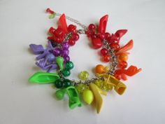 Barbie Shoe  Bracelet /Multi colored with Vintage Fruit Charms/ Extra Full  / ITEM 3554