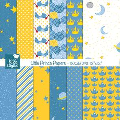 Little Prince Papers - digital papers in blue and yellow for invitations, card making and scrapbooking.