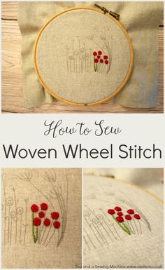 Woven wheel stitch is perfect for making flowers and flower centres.  It's easy and fun to do! Clear tutorial with step by step instructions and pics.