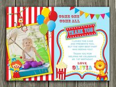 Circus Thank You Card 1 - Printable - www.dazzleexpressions.com