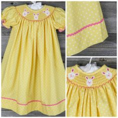 Bunny Face Bishop Yellow Polka Dot - Easter - Collections Smocked Auctions