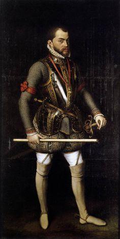 Felipe II rey ♔ de España - casa de los Austria - por Antonio Moro (1557).