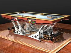 Hurricane's Force 12 pool table was designed for a world-class yacht racer; it features stainless steel rigging, aluminum plate, teak rails with mahogany Pool Table Lighting, Pool Tables, Billiards Pool, Luxury Services, Art Furniture, Cool Pools, Light Table, Wood Species, Poker Table