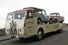1955 JNSN Lightweight Diesel Transporter - Very rare vehicle. Big Rig Trucks, Mini Trucks, Tow Truck, Trucks For Sale, Old Trucks, Old Commercials, Car Carrier, Cool Vans, Heavy Truck