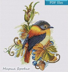 "Cross Stitch Pattern ""Autumn bird"" DMC Cross Stitch Chart Needlepoint Pattern Embroidery Chart Printable PDF Instant Download"