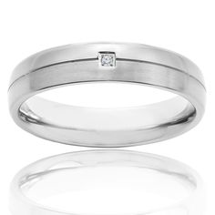 Crucible Titanium Diamond Accent Dual Finished Grooved Comfort Fit Band Ring | Overstock.com Shopping - The Best Deals on Men's Rings