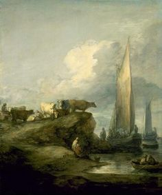 THOMAS GAINSBOROUGH  English, 1727 - 1788  Coastal Scene with Shipping and Cattle  c. 1781–82  Oil on canvas  30 x 25 inches