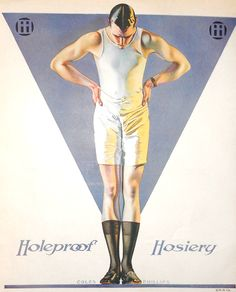 Coles Phillips illustration for Holeproof socks. Around 1920.  (Part of the epidemic of men putting on their shoes before their trousers.)