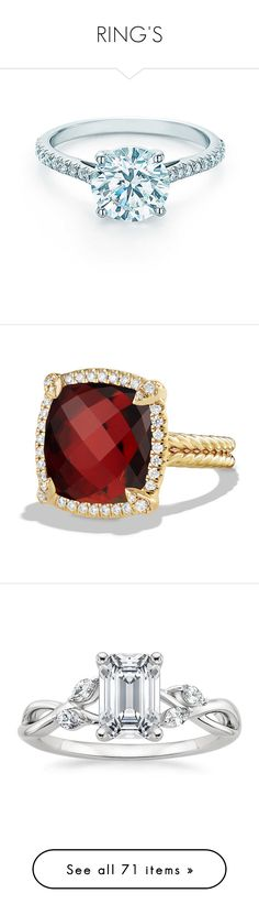 """""""RING'S"""" by londero-danielle ❤ liked on Polyvore featuring jewelry, rings, tiffany co rings, wrap rings, diamond rings, round diamond ring, pave diamond engagement ring, david yurman rings, garnet rings and 18k diamond ring"""