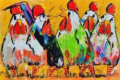 Kleurrijke kippen groot