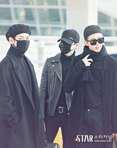 V, Suga and Rap Monster ❤ BTS at Incheon Airport heading to MAMA 2016 in Hong Kong #BTS #방탄소년단