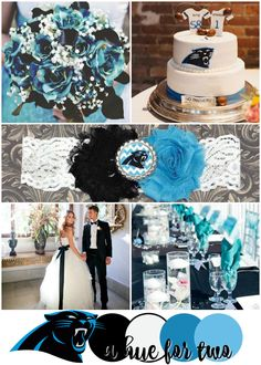 Carolina Panthers Super Bowl 50 Wedding Color Scheme - Black White and Turquoise Wedding - Football Wedding - A Hue For Two   www.ahuefortwo.com