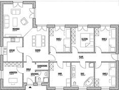 Dieser Bungalow Grundriss mit 150 m² bietet 3 Kinderzimmer This bungalow layout with 150 m² offers 3 children's rooms Bungalow Floor Plans, House Floor Plans, Garden Floor, Ground Floor Plan, Shared Rooms, Kitchen Trends, Modern Room, Garden Planning, Layout