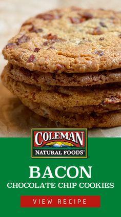 Easy Cookie Recipes, Cookie Desserts, Sweet Recipes, Baking Recipes, Dessert Recipes, Bacon Chocolate Chip Cookies, Bacon Cookies, Candy Cookies, Yummy Cookies