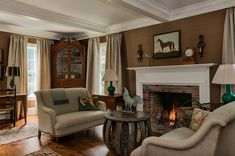 Crisp Architects has renovated this beautiful classic farmhouse situated in Millbrook, New York. Living Room Decor, Living Spaces, Modern Farmhouse Design, Hudson Valley, Upper Cabinets, Architect Design, Colorful Interiors, Litchfield County, Classic