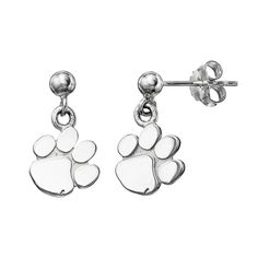 Dayna U Clemson Tigers Sterling Silver Drop Earrings, Women's, Grey