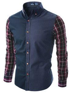 Doublju Men's Long Sleeve Check Shirt With Denim Back Yoke (KMTSTL062) #doublju