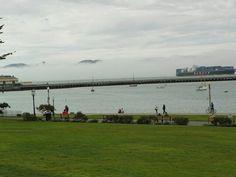Fog covering the golden gate Bridge San Francisco