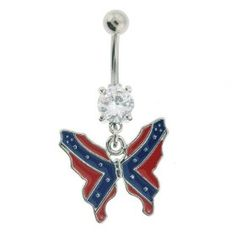 rebel flag belly button ring(: