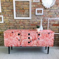 Upcycled vintage retro Schreiber sideboard chest of drawers flamingoes decoupage Recycled Furniture, Refurbished Furniture, Furniture Makeover, Cool Furniture, Painted Furniture, Retro Furniture, Bedroom Furniture, Upcycled Vintage, Repurposed