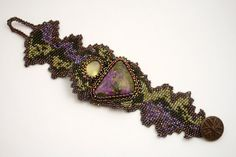 Green and Purple Beadweave Bracelet by jhaines on Etsy