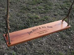 Two Person personalized cherry rope swing handcrafted from reclaimed lumber / wedding / anniversary